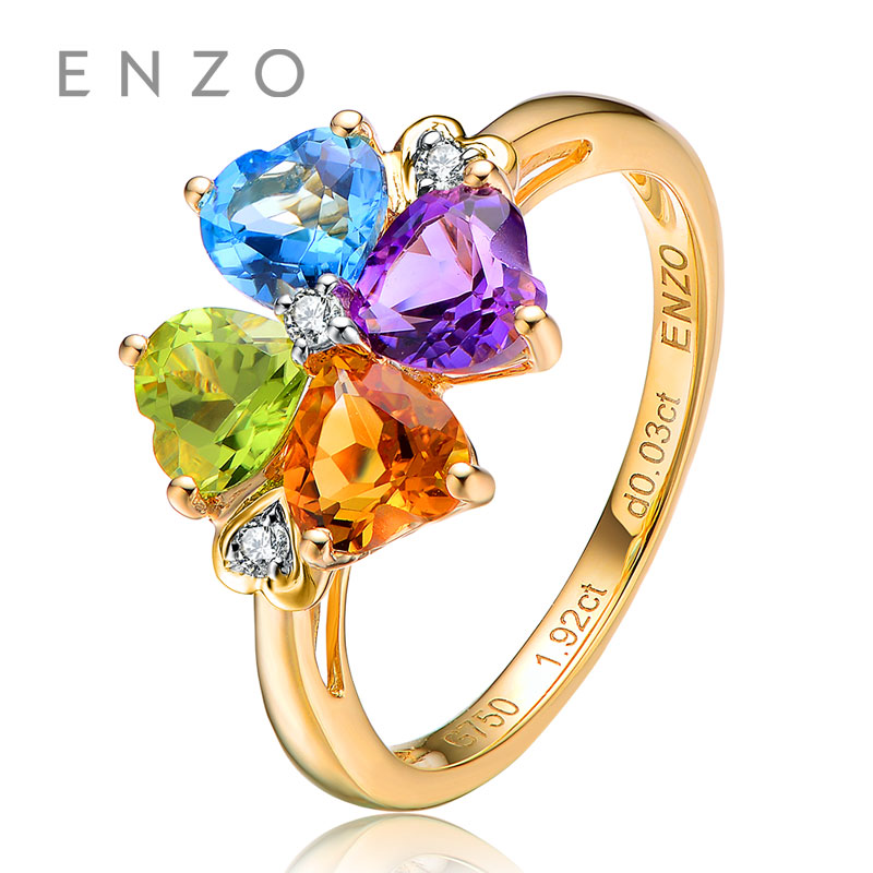 ENZO Rainbow 18K Gold Four-Leaved Clover Ring Natural Colourful Crystal Ring With Fancy Design Wonderful Jewelry