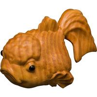 Chinese wood hand engraving Feng shui lucky fish Wealth carp Statue Home decoration