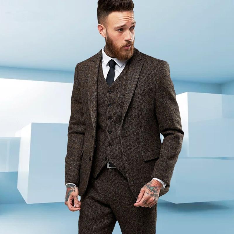Custom Made Tweed Wool Brown Herringbone Men Suit British Style Modern Blazer 3 Pieces Skinny Men Suits (Jacket+Pants+vest) 2019