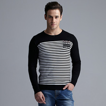 2015 Spring Men's Long Sleeve Knit Sweater Casual T Slim Striped Shirts At The End Of The Tide  Sale
