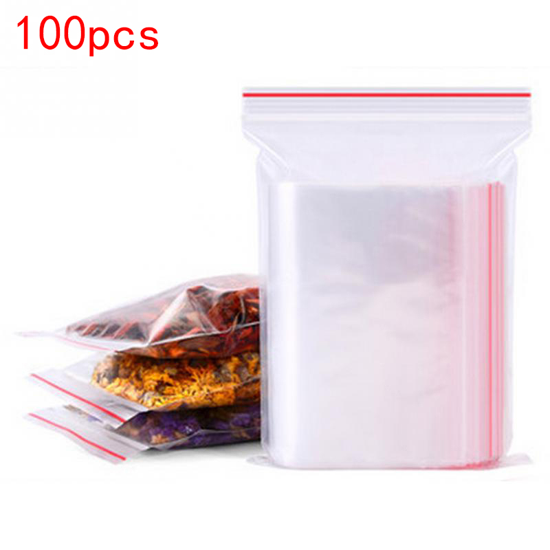 100 pces plástico ziplock sacos de jóias ziplock saco pacote de alimentos fresco-manter a espessura à prova de poeira 0.05mm