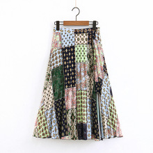 Women skirts Summer 2019 Printed Skirt Faldas mujer moda Plus size Pleated Color block Womens skirt  Long for women