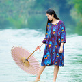 Stylish Peacock Print Robe Dress Ladies Summer Mid Sleeve Loose Oversized Shirt Dress Knee Length Straight Dress
