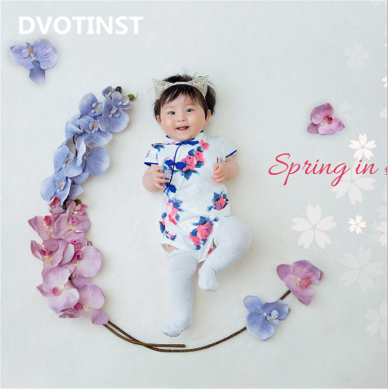 Dvotinst Newborn Baby Girl Photography Props Flowers Paradise Theme Background Costume Set Fotografia Studio Shooting Photo Prop 3 5m vinyl custom photography backdrops prop nature theme studio background j 066