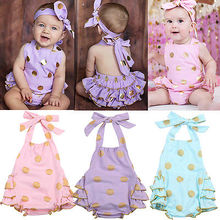 Polka Dot Baby Girls Clothes Backless Flounced Kid Girls Rompers Jumpsuit Playsuit One-Pieces Outfits 0-18M Blue Pink Purple