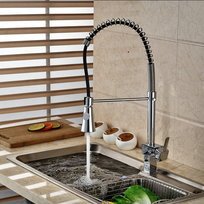 Kitchen Pull Down Spray Chrome Sink Faucet Single Handle Swivel Mixer Tap free shipping high quality chrome brass kitchen faucet single handle sink mixer tap pull put sprayer swivel spout faucet