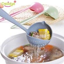 Delidge sopa colher de cozinha 2 em 1, ferramenta coador de plástico com cabo longo