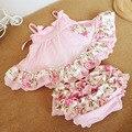 Roupas meninas de verão vestido de babados e Bloomers roupas terno Infantil criança crianças balanço Top Set