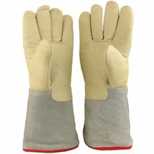 "U.S. Solid 35 cm 13.8"" Protective Gloves for Cryogenic Dewar Liquid Nitrogen Container(China)"