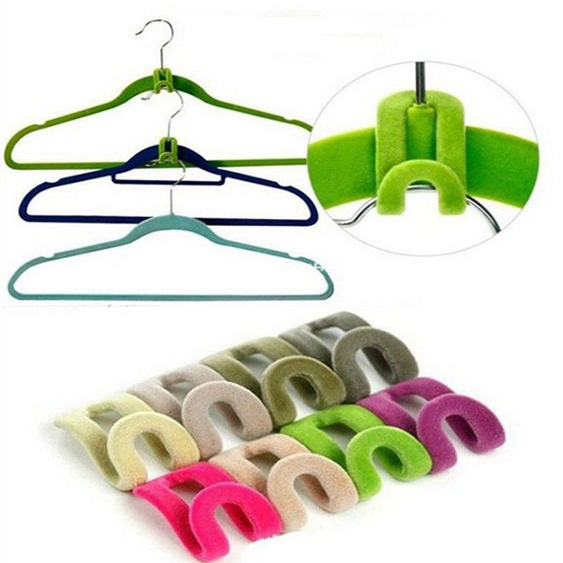 10pcs/lots Home Mini Flocking Clothes Hanger Hook Closet Organizer Wardrobe Hook