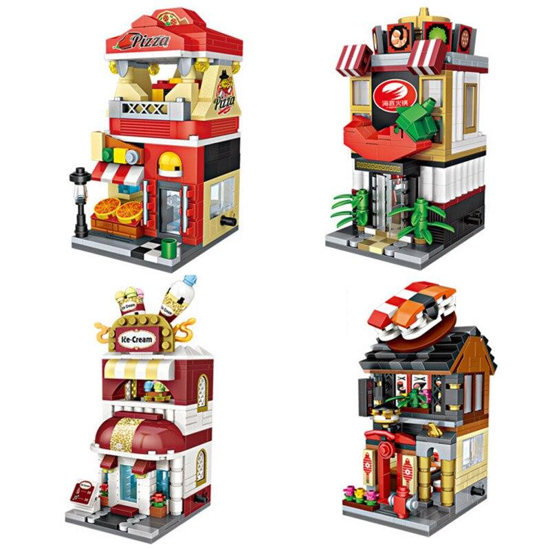 Città vista stradale mini blocco Giapponese sushi shop Haagen-Dazs gelato Pizza shop Frutti di Mare piatto caldo Vie mattone collezionista di giocattoli