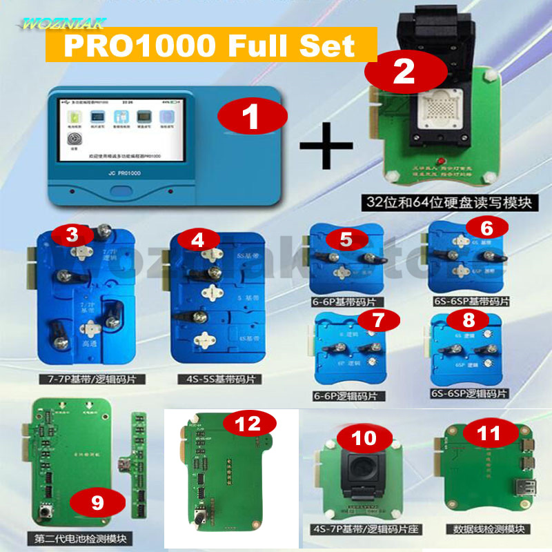 Wozniak PRO1000 logic baseband NAND ic Programmer Battery data cable detection Tester Instrument for iPhone 4 4s 5 5s 6 6s 7 7p
