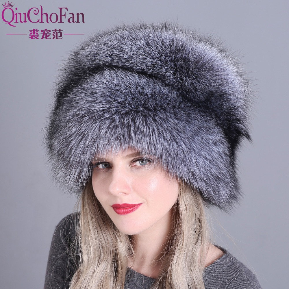 Hat Women's Winter Skullies Women Cap Warm Fur Pompom Thick Natural Fox Fur Cap Real Fur Hat Women Knitted Hat Female Cap