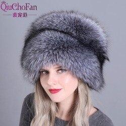 Hat Womens Winter Skullies Women Cap Warm Fur Pompom Thick Natural Fox Fur Cap Real Fur Hat Women Knitted Hat Female Cap