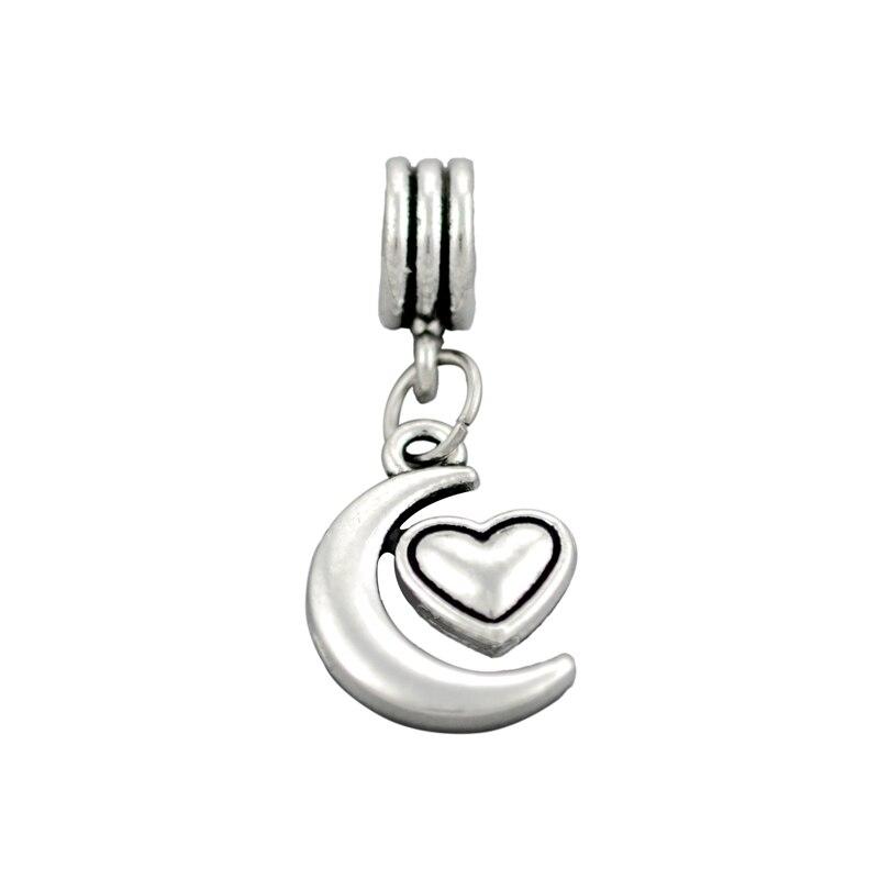 Silver Plated Moon Heart Charms Bead Pendants Fit Pandora Charm Bracelets & Bangles DIY Jewelry Making,SPP083