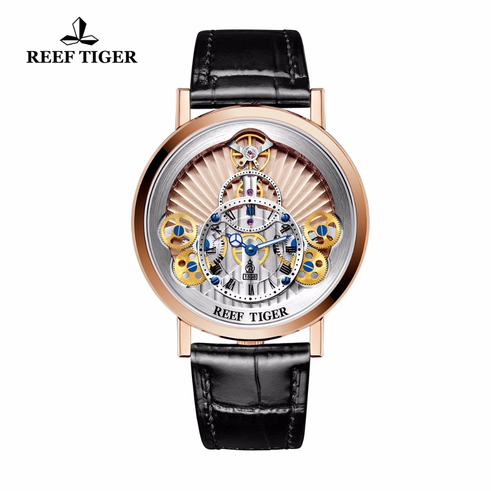 2018 New Reef Tiger/RT Mens Designer Casual Watch Reloj Hombre Men Sports Fashion Quartz Waterproof Skeleton Rose Gold Watches
