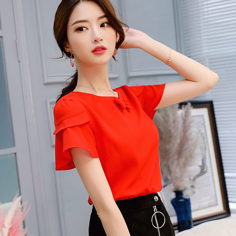BIBOYAMALL Women Blouse Summer Chiffon Shirt Female O-Neck Bow Tie Blouse Women Short Sleeve Short-Sleeved Ladies Tops Red/White