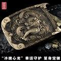 Qualidade artesanal dragão de bronze fivela de cinto cinta casual masculino