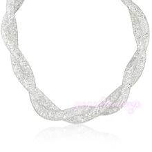 Mytys Nueva Llegada de Doble Cadena Collar de Gargantilla Collar de alambre de malla con Circón Cristal N374