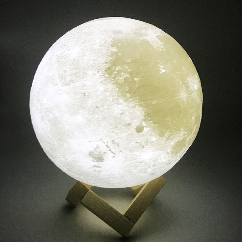 Litwod Z15 Rechargeable 3D Print Moon Lamp 2 Color Change Touch Switch Bedroom Bookcase Night Light Home Decor Creative Gift