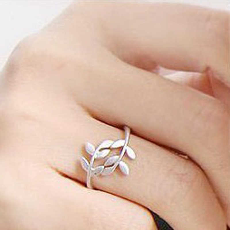 2018 New Boho Women Leaf Rose Gold Rings For Women Vintage Silver Ring For Ladies Female Wedding Rings Accessories Jewelry