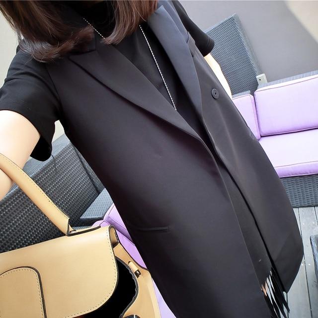 Office Ladies Formal Vest Blazer 2XL Plus size Black Lapel Long Sleeveless Jacket Spring Work Outfit