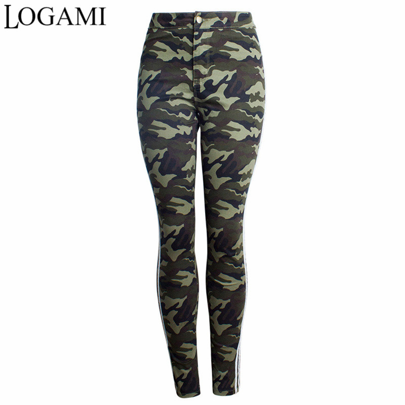 LOGAMI Patchwork Cotton Camouflage Pants Fashion Skinny High Waist Women Casual Pants New Arrival