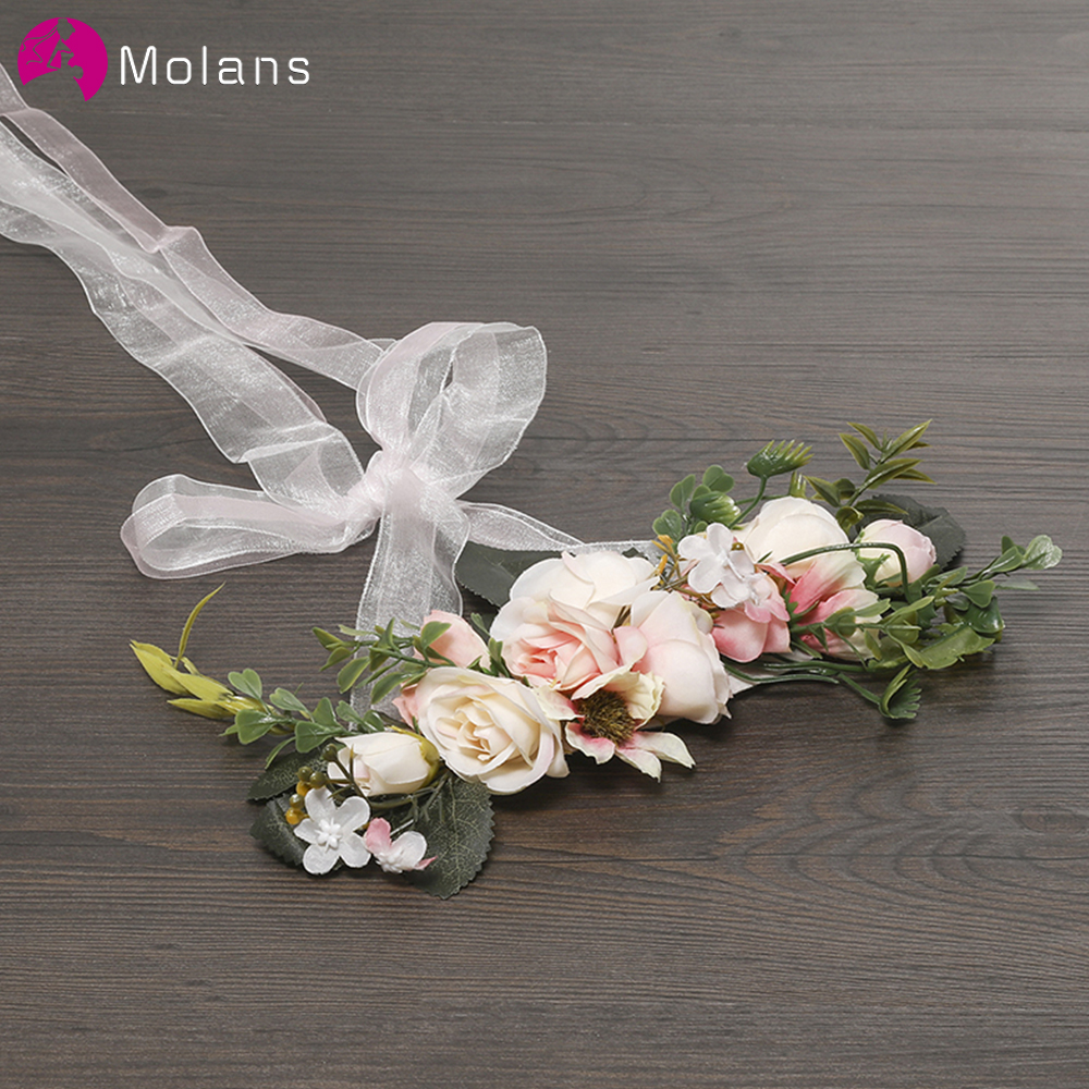 MOLANS Handmade Adjustable Elegant Ribbon Women Flower Crown Exquisite Wedding Accessories Lady's Festival Flower Headpiece