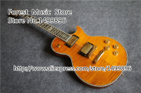 Free Shipping New Brand Yellow Tiger Flame Top Solid Body Classical Electric Guitar China OEM Left