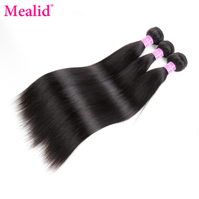 Mealid Brazilian Straight Hair Weave Bundles Non Remy Natural Color