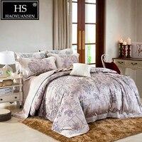 Egyptian Cotton Yarn Dyed Jacquard Elegance Garden Flower Design Bedding set 4Pcs Sheets Duvet Cover Pillowcase Queen King Size