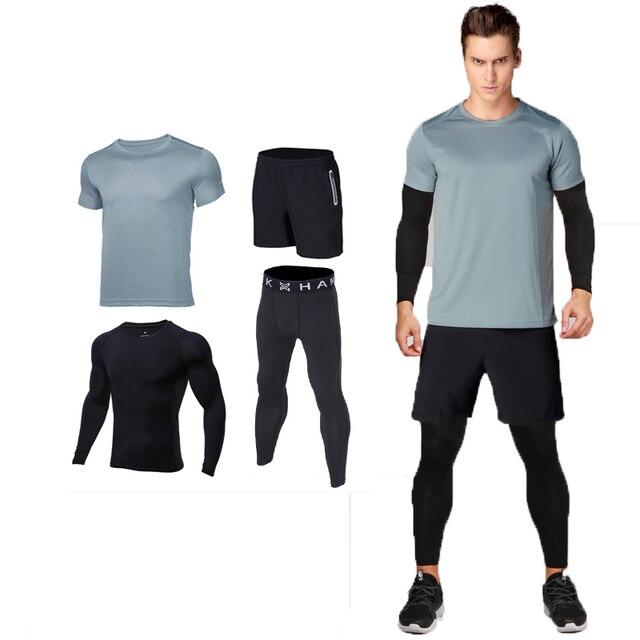 3131cdefe6ab1 4 piezas hombres gimnasio Fitness ropa deportiva masculina gimnasio running  sets jerseys del baloncesto traje de