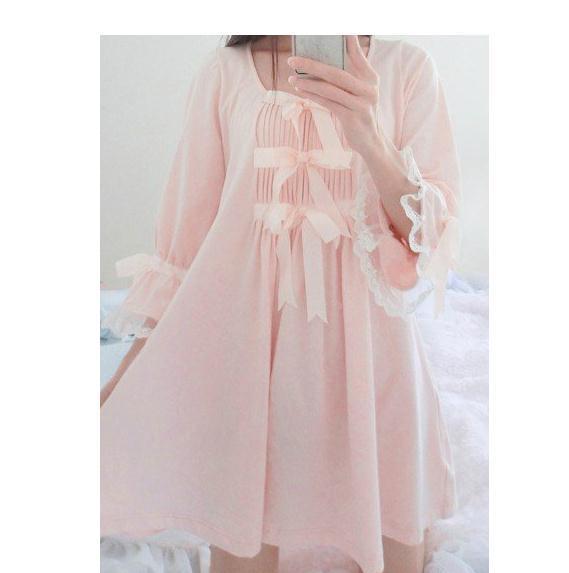 La primavera y el verano de algodón camisones y sleepshirts con flor de cerezo rosa arcos/cordón/de las señoras en lolita/palacio/estilo Japonés