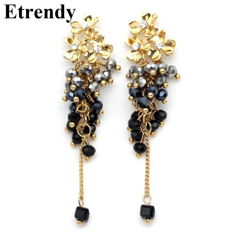 Classic statement long earrings gold-color fashion flower beads tassel dangle earrings for women new jewelry wholesale