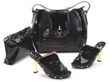 Neue Mode Italienische Schuhe mit Passenden taschen Für Partei SCHWARZE FARBE afrikanische schuhe Und Taschen für Hochzeit 10 CM schuh und tasche set