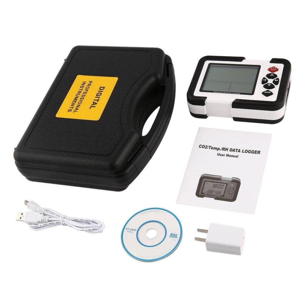 HT-2000 desktop dióxido de carbono registrador de dados detector gás analisador monitor lcd/pc dióxido ar temperatura umidade registador medidor