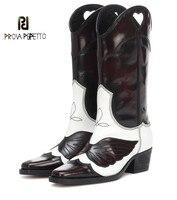 Prova Perfetto разноцветные сапоги на высоком каблуке с острым квадратный носок Для женщин; фирменный дизайн; женские ботинки с перфорацией в стил
