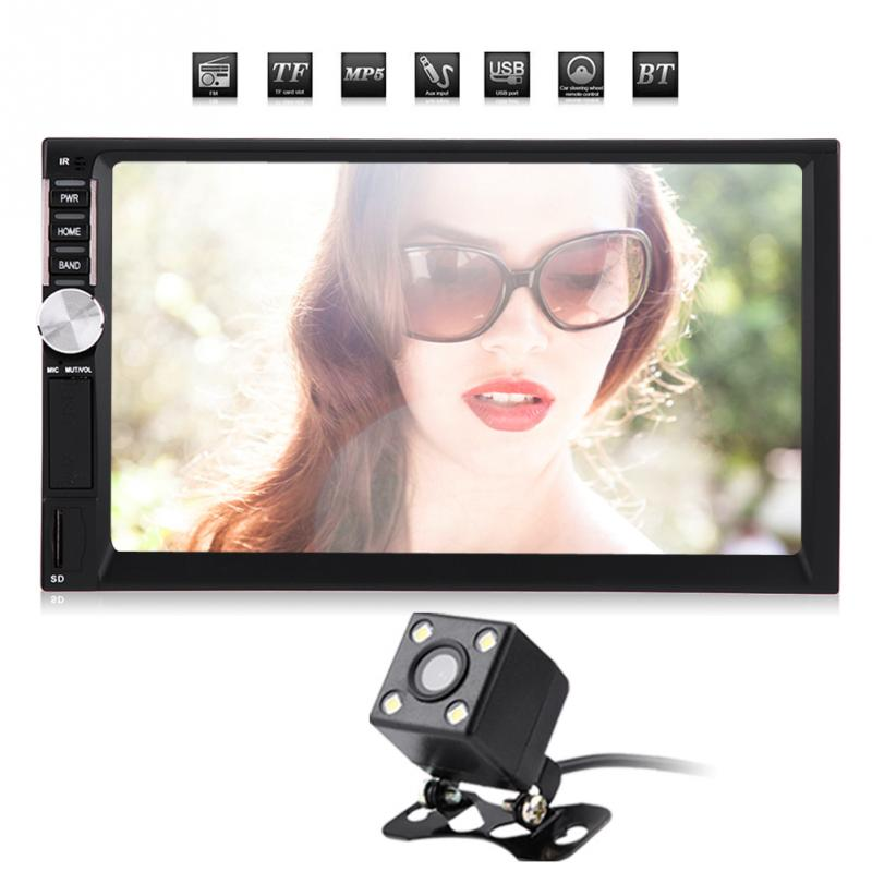 Car audio 7 Inch 2 DIN Touch Screen auto Radio Video car MP5 Player Support <font><b>Bluetooth</b></font> <font><b>AUX</b></font> <font><b>USB</b></font> FM camera