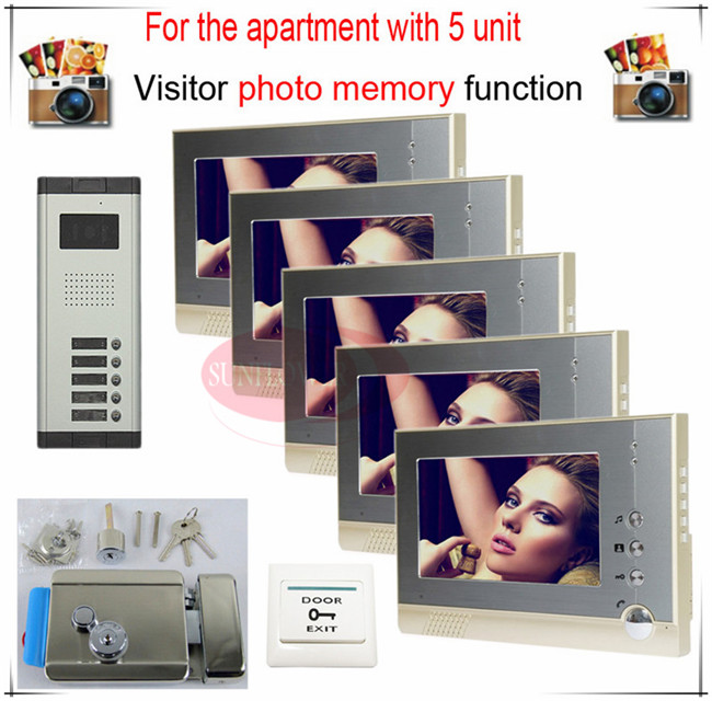 5v5 Take Photos Color Video Door Phone Intercom Doorbell System  For Five Units Apartment  + Electronic control lock