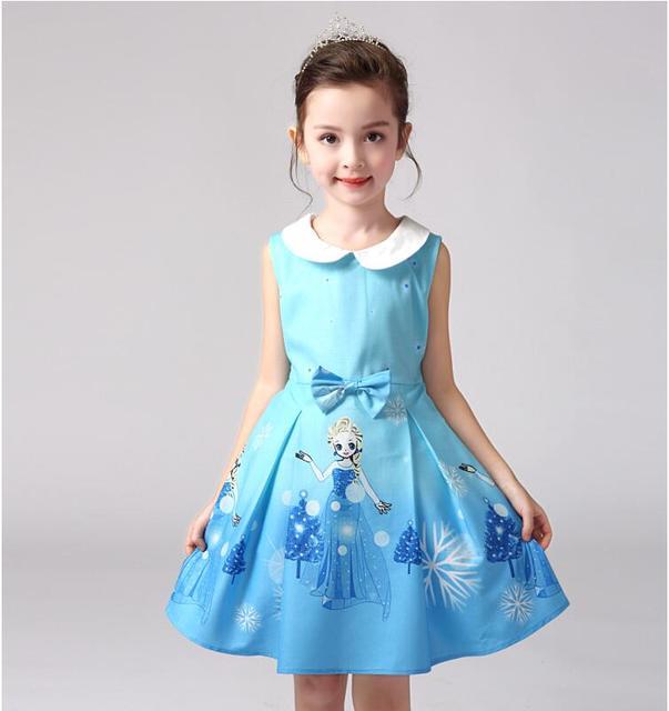6a8f20db6 2017 Hot New Girls Vestidos Elsa nieve vestido de traje ropa de niños  Vestidos de verano