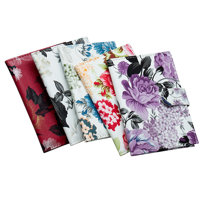 Peony Geometric Marble Leather Passport Holder Cover Case Blocking Travel Wallet