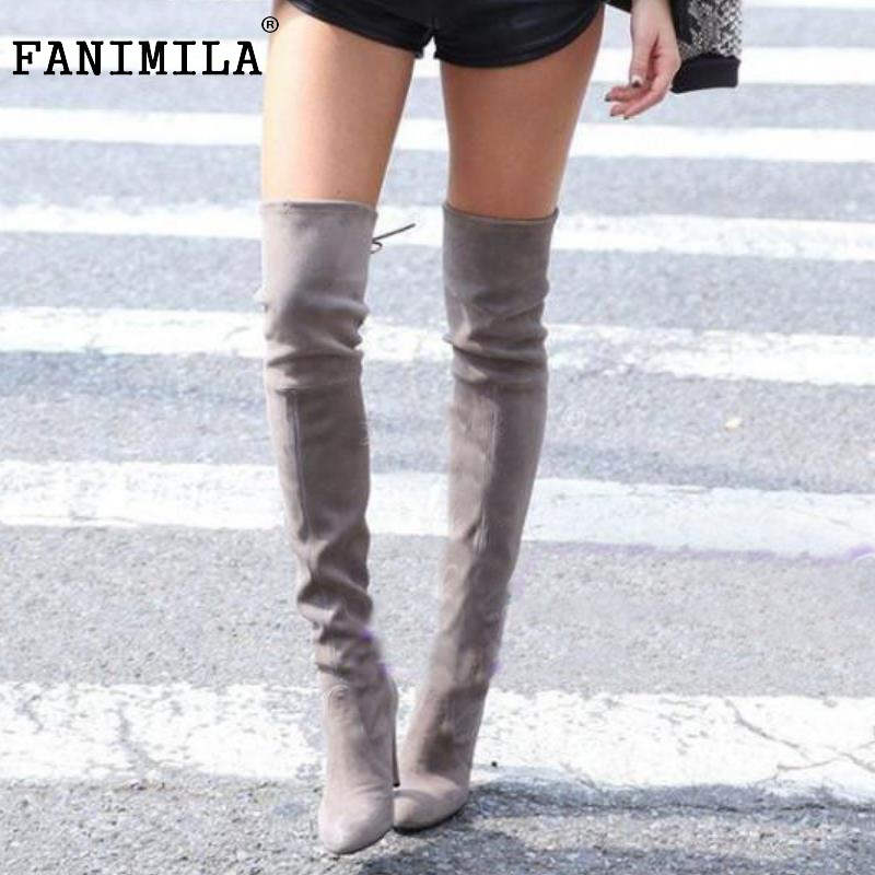 Popular Grey Pointed Toe Over The Knee High Heel Boot-Buy Cheap ...
