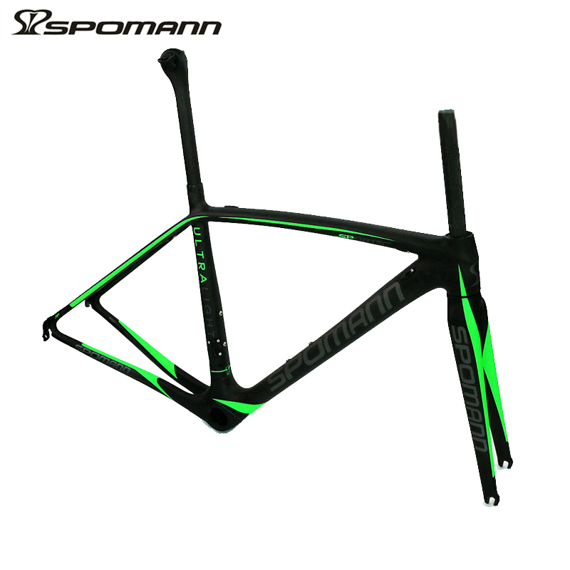 SPOMANN ULTRALIGHT 750g carbon road bike frame 700C UD matte bicycle racing frame with seatpost fork headset ycling bike parts 53cm 55cm 58cm fixed gear bike frame matte black bike frame fixie bicycle frame aluminum alloy frame with carbon fork