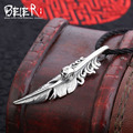 Beier new store 100% 925 thai silver sterling skull pendant necklace feather fashion jewelry free give rope A2319