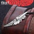 Beier nova loja 100% 925 thai crânio pingente de colar de penas de prata esterlina jóias da moda livre dar corda a2319