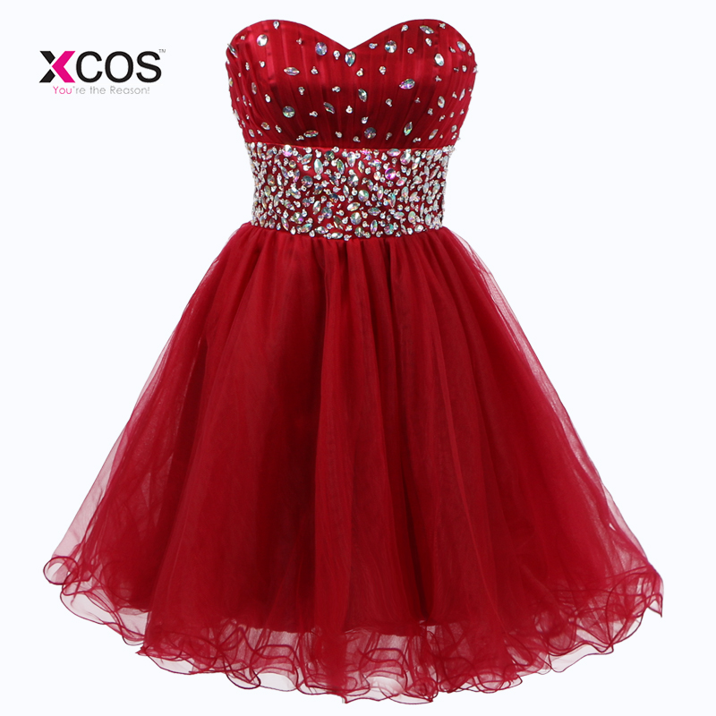 e54bced307b Short Junior Homecoming Dresses for Teens Rhinestone Beaded Sweetheart Tulle  Semi Formal Prom Gown Graduation Dress