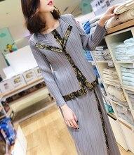 New Womens Spring Garment Miyake Fold Fashion Suit Two-piece Skirt- Pant