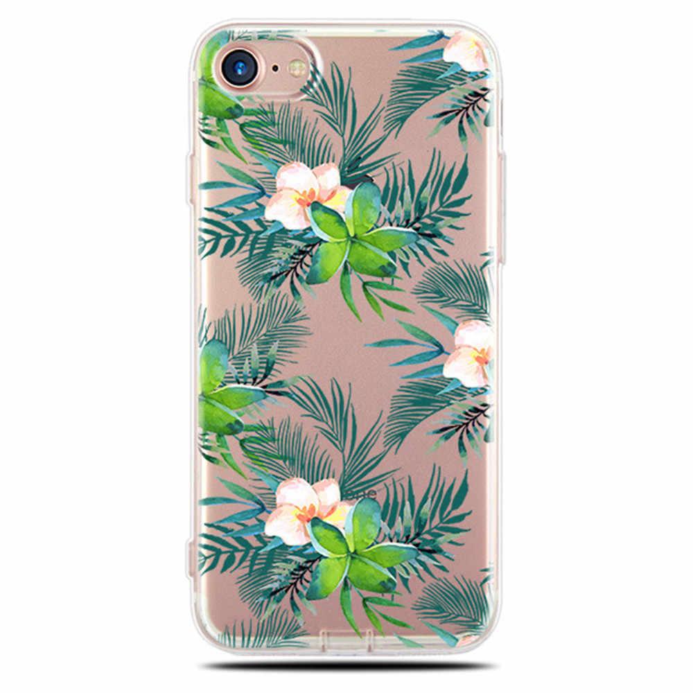 ฝาครอบซิลิโคนคู่กรณีสำหรับ iPhone 6 6 วินาที 7 8 Plus 5 5 วินาที SE 10 XS Lover พืชการ์ตูนรูปแบบโทรศัพท์กรณีกลับ Shell Capa
