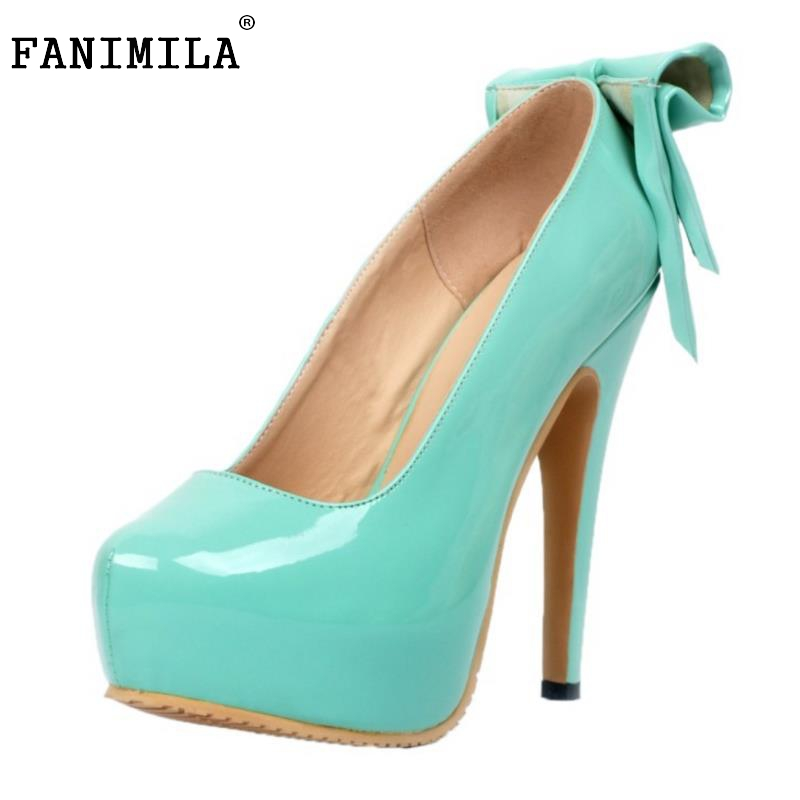 Women Platform High Heel Shoes Fashion Lady Bowtie Bowknot Heels Pumps Woman Sexy Party Wedding Heeled Footwear Shoes Size 34-47 xiaying smile summer new woman sandals platform women pumps buckle strap high square heel fashion casual flock lady women shoes