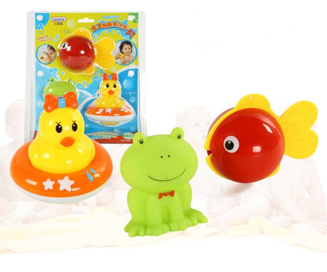 3 pc bonito Beiens ABS de alta qualidade 0 - 12 mês brinquedos de banho de água pato peixe colorido cognitivo flutuante brinquedo divertido